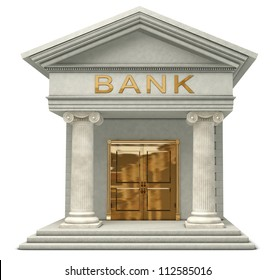 Iconic 3D caricature model of a bank isolated on a white background