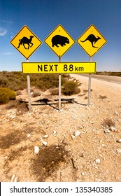 Iconic Animal Road sign in the AUstralian OUtback