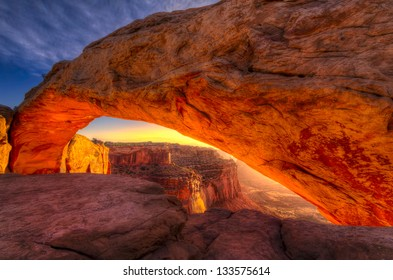 Iconic arching rock formation at dawn near Moab, Utah
