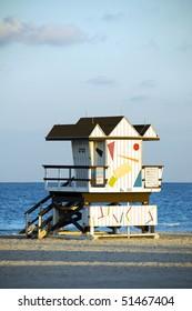 iconic architecture of lifeguard beach house hut south beach miami florida