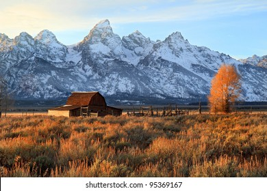 Iconic Barn in Grand Tetons National Park at sunset