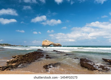 Iconic beach in Biarritz city. Basque coast of France.