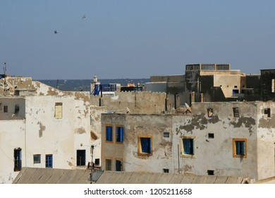 Iconic blue shuttered, white-washed buildings, Essaouira, Morocco, North Africa