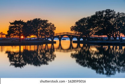 Iconic bridge over the Currituck Sound at the historic Corolla Park at sunset on the Outer Banks of North Carolina.