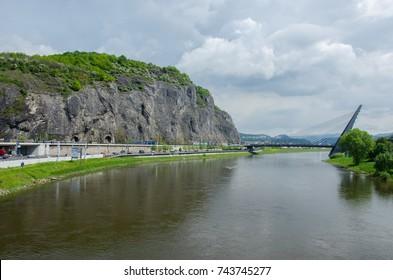 The iconic bridge over the river Labe (Elbe), Usti nad Labem, Czech Republic