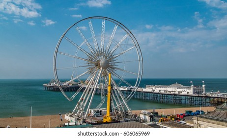 The iconic Brighton wheel being dismantled