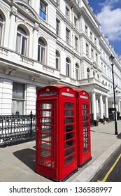 Iconic British Red Telephone boxes in London.