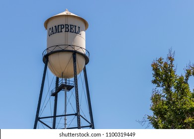 Iconic Campbell Water Tower against a blue summer sky. City of Campbell, Northern California, United States of Ameica.