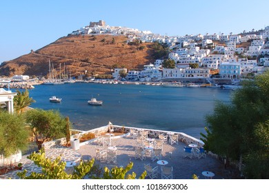 Iconic castle of Astypalaia island with views to Aegean sea, Dodecanese, Greece