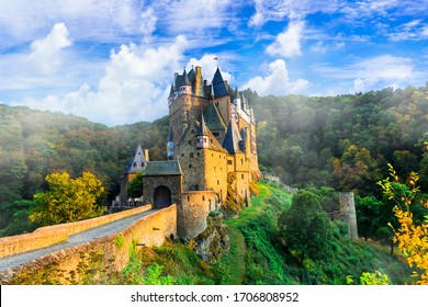 Iconic castle Burg Etz over sunset. Medieval monuments of Germany