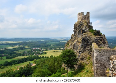 Iconic castle of Trosky in the Bohemian Paradise in the Czech Republic