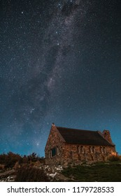 The iconic Church of Good Shepherd at Lake Tekapo with the Milky Way in the background