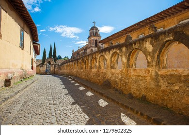 Iconic colonial street, in the Pátzcuaro village, Michoacan State, Mexico.