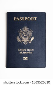 The iconic dark blue front cover of the American passport set on a plain white background.