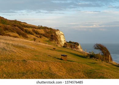 Iconic Dover white cliff photographed during the sunset