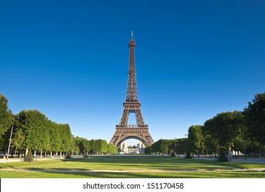 Iconic Eiffel Tower (1889) symbol of Paris and Champ-De-Mars park.