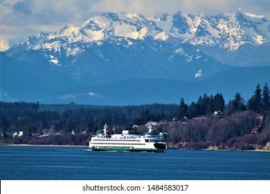 Iconic Ferry Boat Washington and Mountains