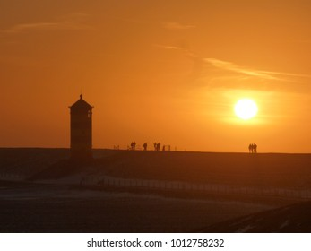 Iconic german lighthouse silhoutte