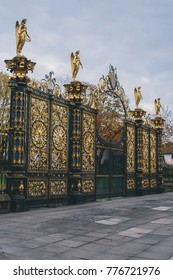 The iconic golden painted wrought iron gate in the front of the town hall of Warrington city, Cheshire, England