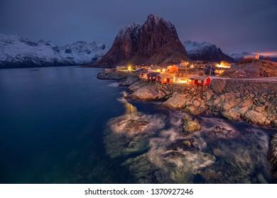 Iconic Hamnoy fishing village in Lofoten, Norway