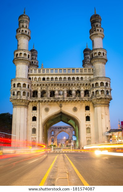 Iconic heritage building of Hyderabad city during dawn.