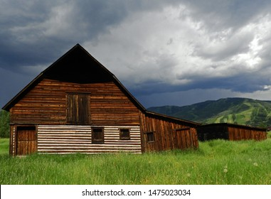 the iconic and historical  more barn in steamboat springs, colorado on a  stormy summer day