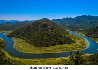 The iconic horseshoe bend of Lake Skadar, Montenegro