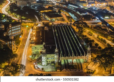 The iconic Kuala Lumpur Railway Station at night time zoomed in from high vantage point. Noise visible due to high iso.