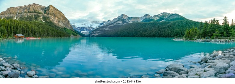 The iconic Lake Louise in summer located in Alberta, Canada.