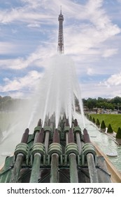 Iconic Landmark Steel Structure of Eiffel Tower in Paris France and Trocadero Fountains