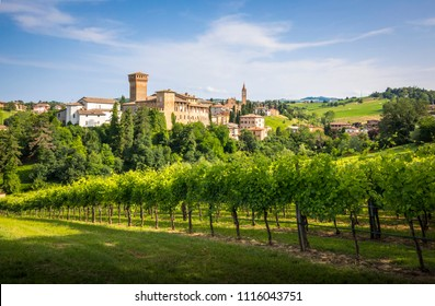 The iconic Levizzano Rangone village, with wineyards on the foreground, into the hills between Modena and Bologna. Modena district, Emilia Romagna, Italy