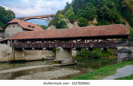 The iconic Medieval covered wooden bridge in Fribourg, Switzerland