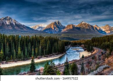 Iconic Morant's Curve, Banff National Park, Alberta Canada