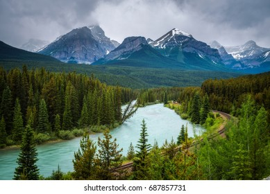 Iconic Morant's Curve in bow valley with Rocky Mountains in the background, Banff National Park, Alberta Canada