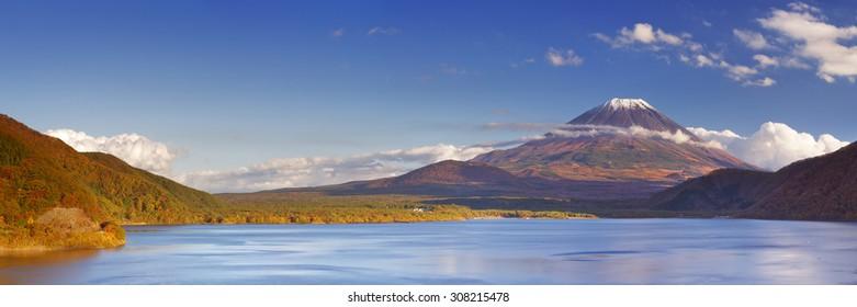 The iconic Mount Fuji (Fujisan) in Japan. Photographed from Lake Motosu (Motosuko?) on a sunny afternoon.