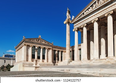 Iconic neoclassic Academy of Athens, Athens historic center in Attica, Greece