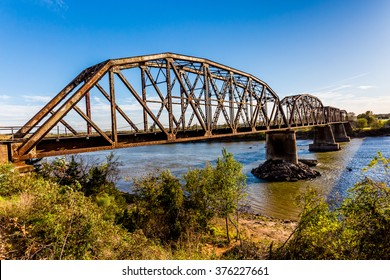 An Iconic Old Metal Truss Railroad Bridge in Texas.