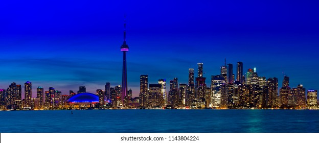 Iconic Panoramic twilight skyline of Toronto, Canada photographed on April 26, 2017