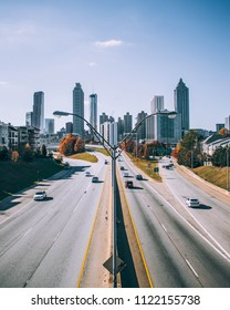 Iconic picture of Atlanta's cityscape from the famous Jackson Street Bridge.
