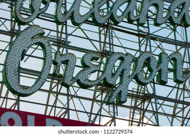 Iconic Portland Oregon Stag Neon Welcome Sign Blue Sky Background