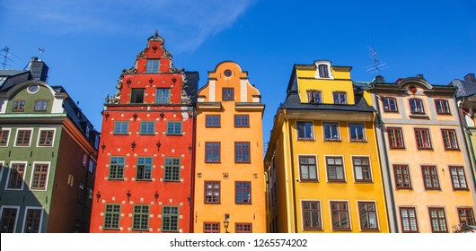 Iconic Red, Ochre and Green Buildings in Gamla Stan Stockholm Sweden