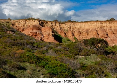 The iconic rock formations and boardwalk at Sugarloaf rock Hallett Cove South Australia on 19th June 2019