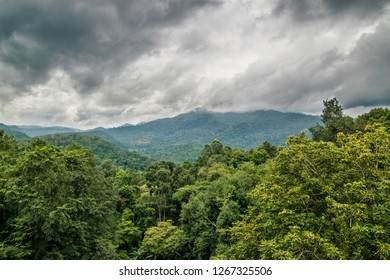 An iconic rocky outcrop at Kew Mae Pan nature trails on Doi Inthanon the highest mountains in Chiang Mai province of Thailand.