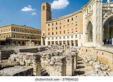The iconic Roman amphitheatre in Sant'Oronzo square, one of the most visited spots in Lecce, Salento, Apulia, Italy