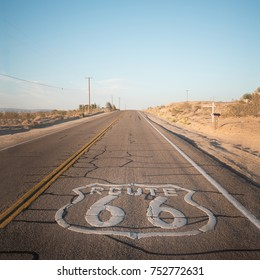 Iconic Route 66 mark over the road, California.