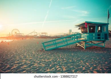 Iconic Santa Monica rescue cabin in sunset light