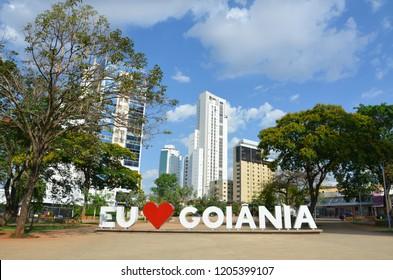Iconic sign of I love Goiania at the public sun square in Goiania, Goias, Brazil