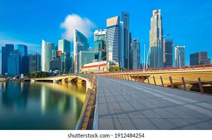 Iconic Singapore skyline at the sunrise, Singapore