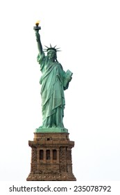 The iconic Statue of Liberty, New York City. Isolated on white background