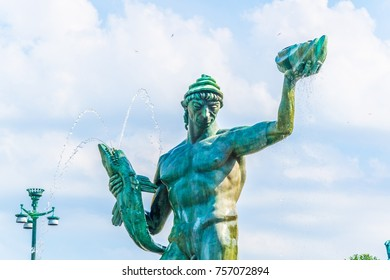 The iconic statue of Poseidon at Gotaplatsen in Goteborg, Sweden
